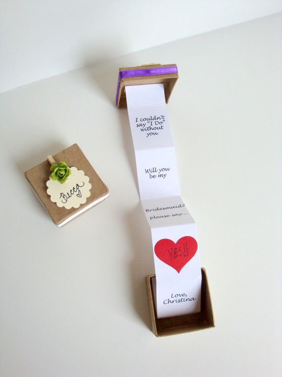 ONE (1) - Pop Up message in a box - Will you be my bridesmaid, bridesmaid invitation, maid of honor on Etsy, $13.00