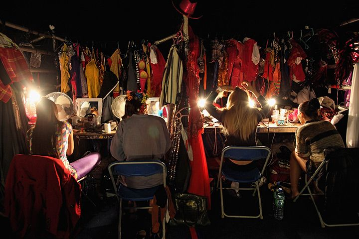 Edinburgh, Scotland: The Lady Boys of Bangkok prepare backstage for their cabaret show during the Edinburgh Fringe Festival http://www.whatsontickets.com/The-Ladyboys-of-Bangkok.asp
