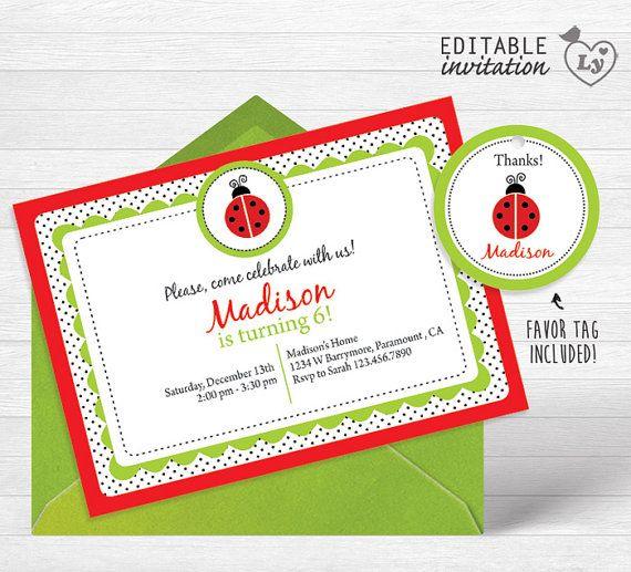Ladybug INSTANT DOWNLOAD Editable Invitation / Ladybug Invitation  / EDITABLE Ladybug Invitation / Ladybug Party / Ladybug  / Ladybug Bday