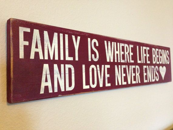 "Wood Sign Quote - ""Family is where life begins..."" - 24"" x 5.5"""