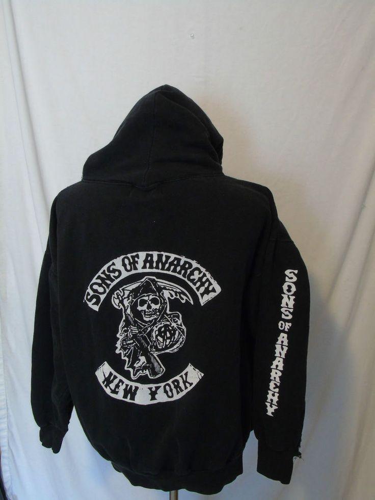 sons of anarchy ny hoodie sweatshirt soa new york mens 2x. Black Bedroom Furniture Sets. Home Design Ideas