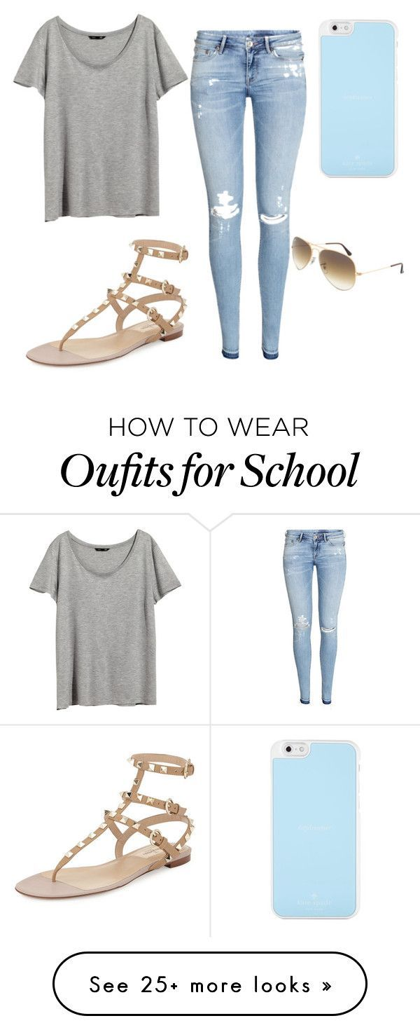 """Day at school"" by victoriaekechukwu on Polyvore featuring H&M, Valentino, Kate Spade and Ray-Ban"