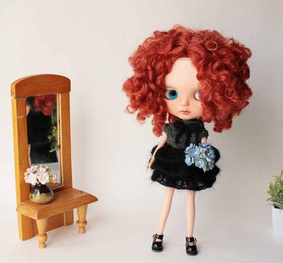 Blythe dress, Black mohair acrylic dress for Blythe doll fromVolnaDollsClother, Hand knitted doll clothes, Cozy fluffy dress for Blythe doll