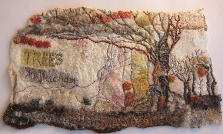 Trees.  Felted and stitched book cover for artwork, stitch and prints.