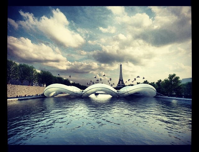 Trampoline bridge over River Seine in Paris