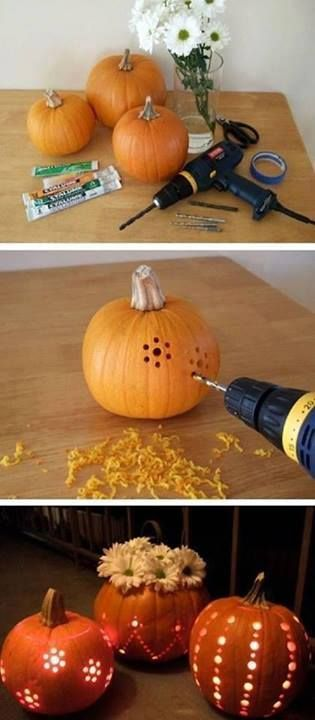 Fun and fast pumpkin decorating ideas! Scoop out as MUCH of the pumpkin as you can first. This is a good one where the walls don't have to be as thick for details. Line the pumpkin with tinfoil after you've scooped it out and drilled holes, then take a tool bunch (or metal skewer) and punch holes in the tinfoil. The reflection from the foil will make your pumpkin appear brighter.