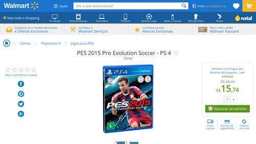 [Wal-Mart] PES 2015 Pro Evolution Soccer - PS 4 2931894 - de R$ 169,47 por R$ 15,74 (90% de desconto)
