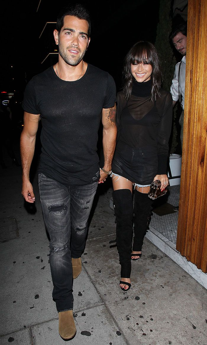 Cara Santana Dines Out with Jesse Metcalfe in Showstopping Over-the-Knee Boots and See-Through Top