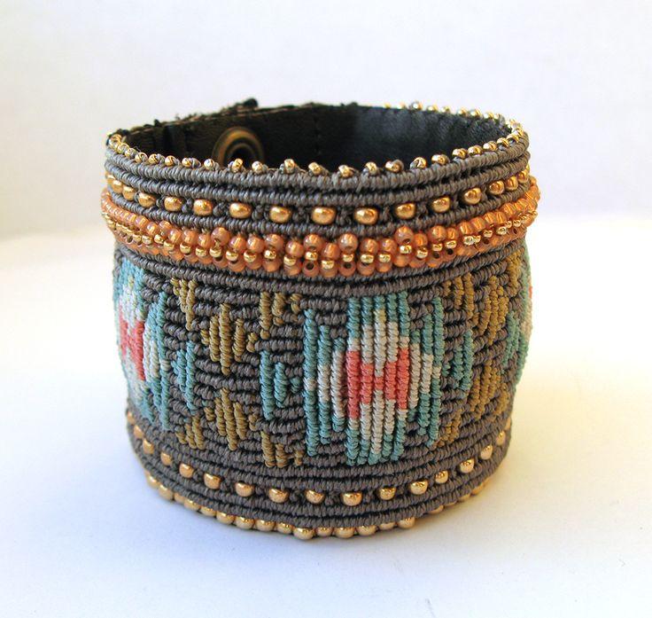 Micro-macrame cuff with native pattern. Cavandoli technique.