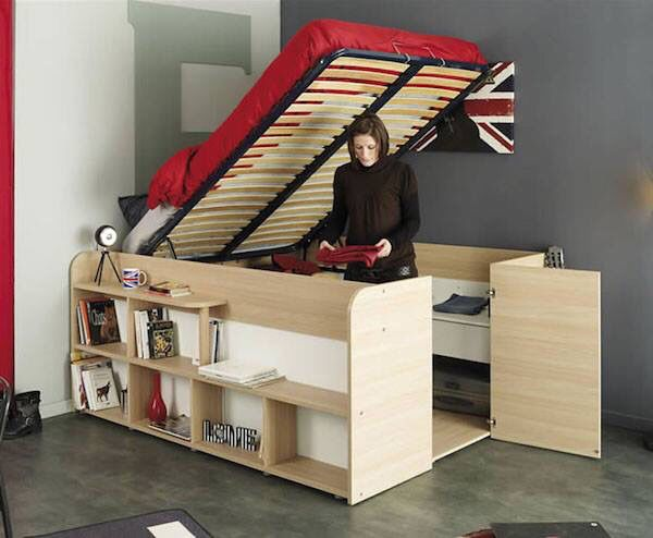 Space saving bed storage idea, turn sideways opening with a small entry for a canal boat,