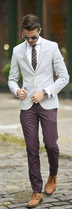 Business outfit - white shirt, tie, blazer, purple pants, brown shoes, sunglasses and watches. JustBeStylish.com