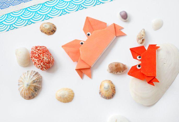 Petit DIY de crabes en origami sur le blog d'Adeline Klam !