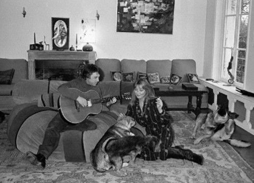 French actress Marina Vlady is serenaded by her husband Vladimir Vysotsky, a Russian anti-establishment actor, poet, songwriter and singer in the Soviet Union