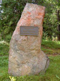 Memory stone of Kentärata Railway, Taivalkoski, Lapland, Finland