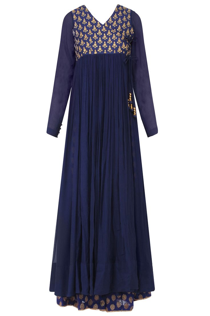 Blue golden thread embroidered overlap kurta with sharara pants available only at Pernia's Pop Up Shop.