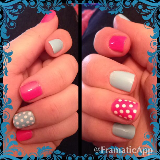 Pink and blue painted nails with polka dots.  Fun for gender reveal baby shower!