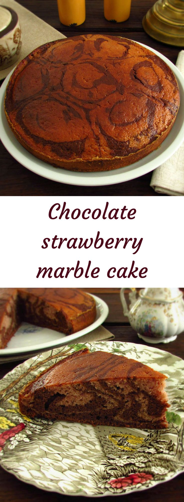 Chocolate and strawberry marble cake | Food From Portugal. Cake with a delicious blend of flavors, confectioned with flour, eggs, sugar, chocolate powder, Port wine and strawberries. #chocolate #cake #recipe