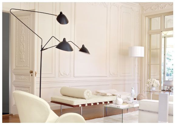All-white with a hint of bold black...great! Serge Mouille