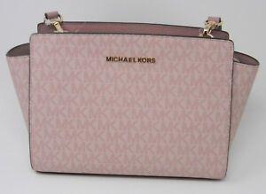 950bf44154f582 MICHAEL Michael Kors Selma Fawn Ballet Pink Signature Messenger Crossbody  Purse