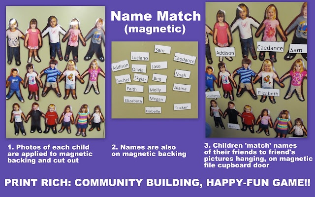 preschool name recognition, early literacy with magnets, back to school game,NAEYC best practice