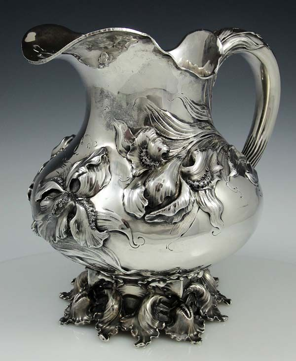 Art nouveau sterling pitcher by Theodore B Starr with irises, 1900