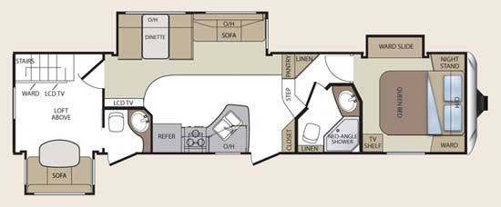 Rv 2 bathroom floor plans english us rvs pinterest english models and tvs Rv with 2 bedrooms 2 bathrooms