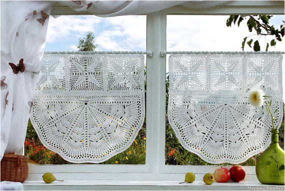 Crocheted Curtain  Вandelion by majontak on Etsy, $115.00