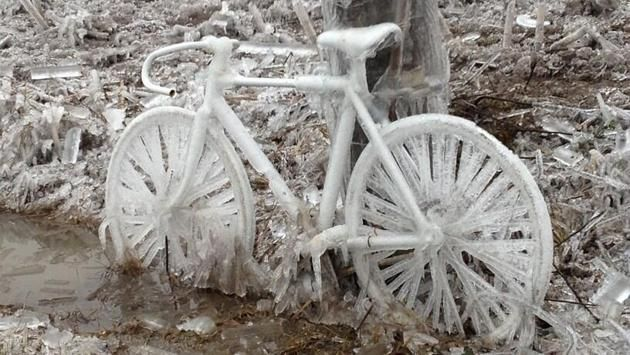 Aftermath of weekend ice storm ~ look at that bike!