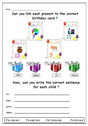 birthday french worksheetmatching and writing by yippeelearning resources french worksheets. Black Bedroom Furniture Sets. Home Design Ideas