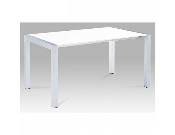 Rozkládací jídelní stůl DARO, MDF / kov, bílá extra vysoký lesk HG / stříbrná