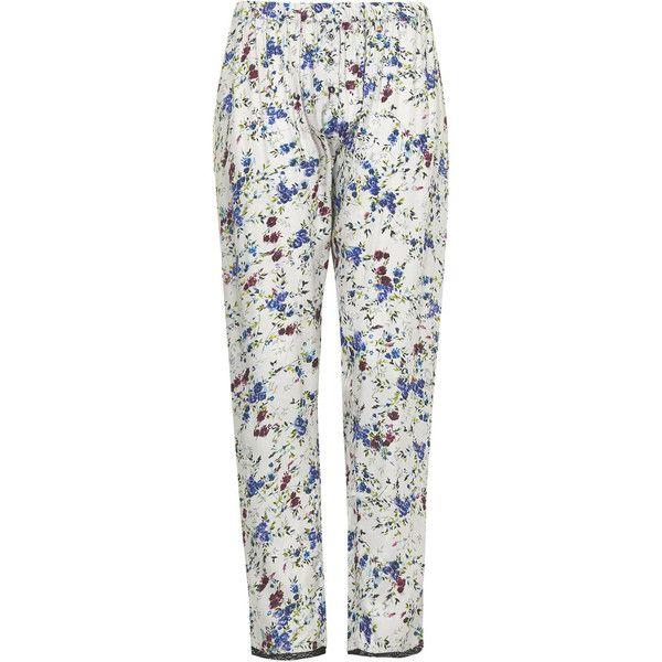 TOPSHOP Pansy Print Pyjama Trousers ($36) ❤ liked on Polyvore featuring intimates, sleepwear, pajamas, silver grey, topshop sleepwear, topshop pyjamas, floral pjs, topshop pjs and floral pyjamas