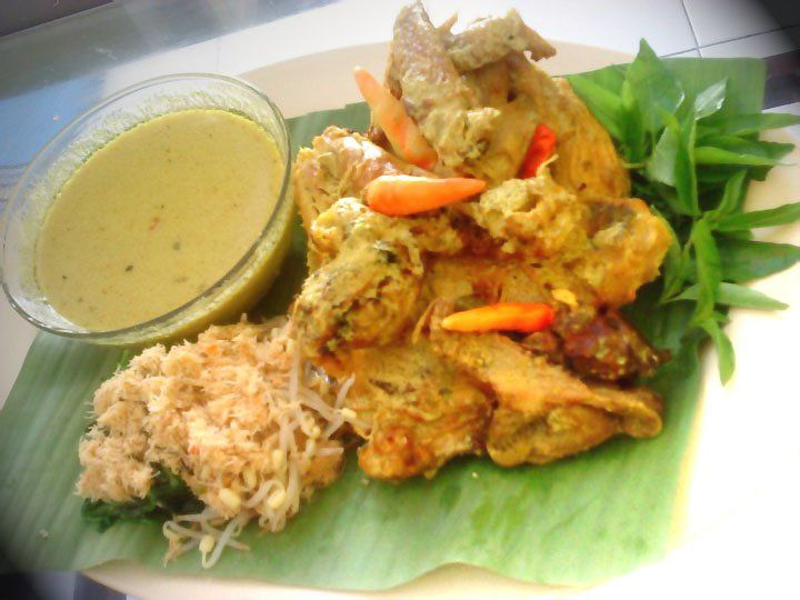 Ayam lodho, spicy roasted free range chicken in coconut milk specialty of Tulungagung (East Java)