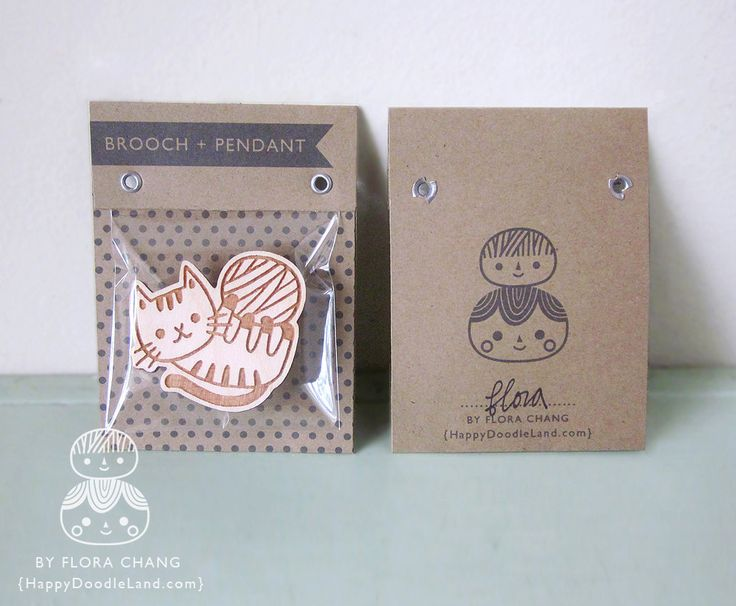 Wooden Brooch Packaging | Happy Doodle Land