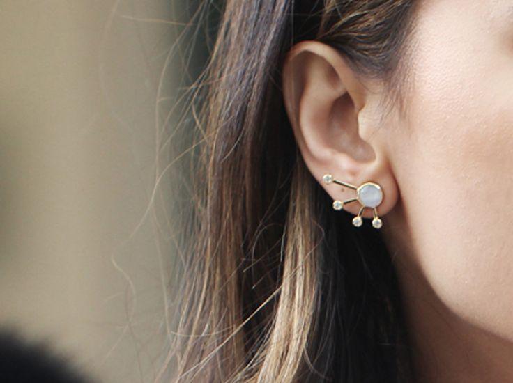 Missoma 18ct Gold Vermeil Rainbow Moonstone Cosmic Burst Earrings