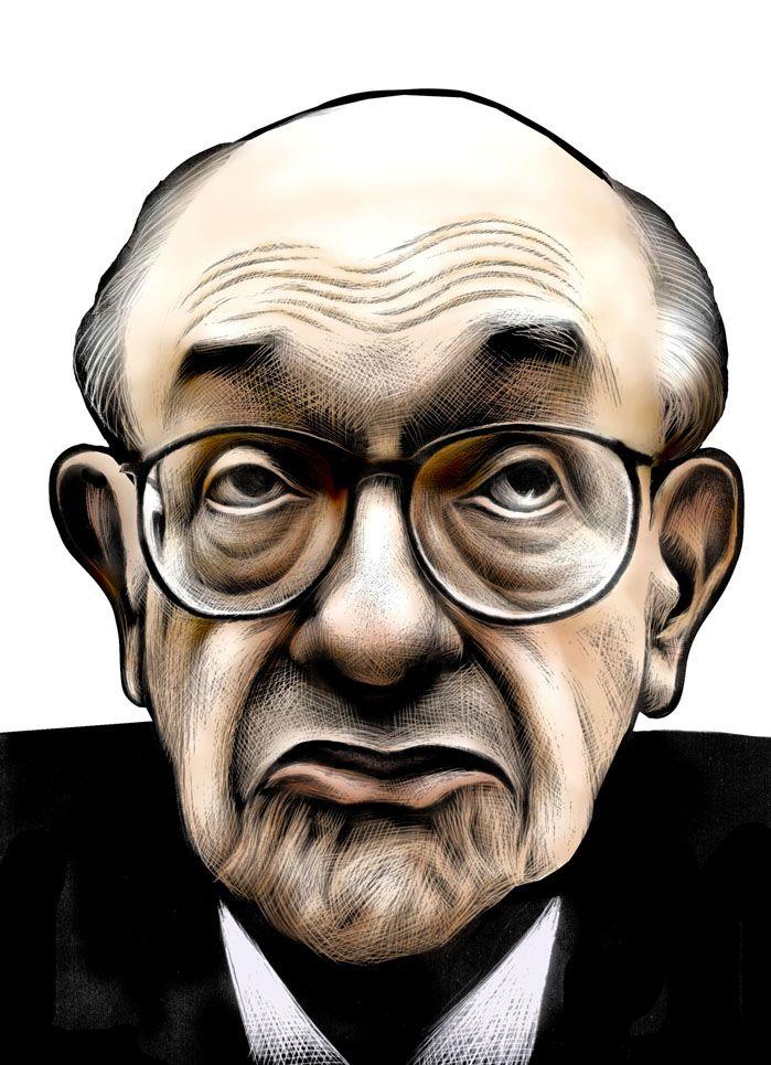 Portrait of Alan Greenspan. by Ricardo Cunha Lima #scratchboard