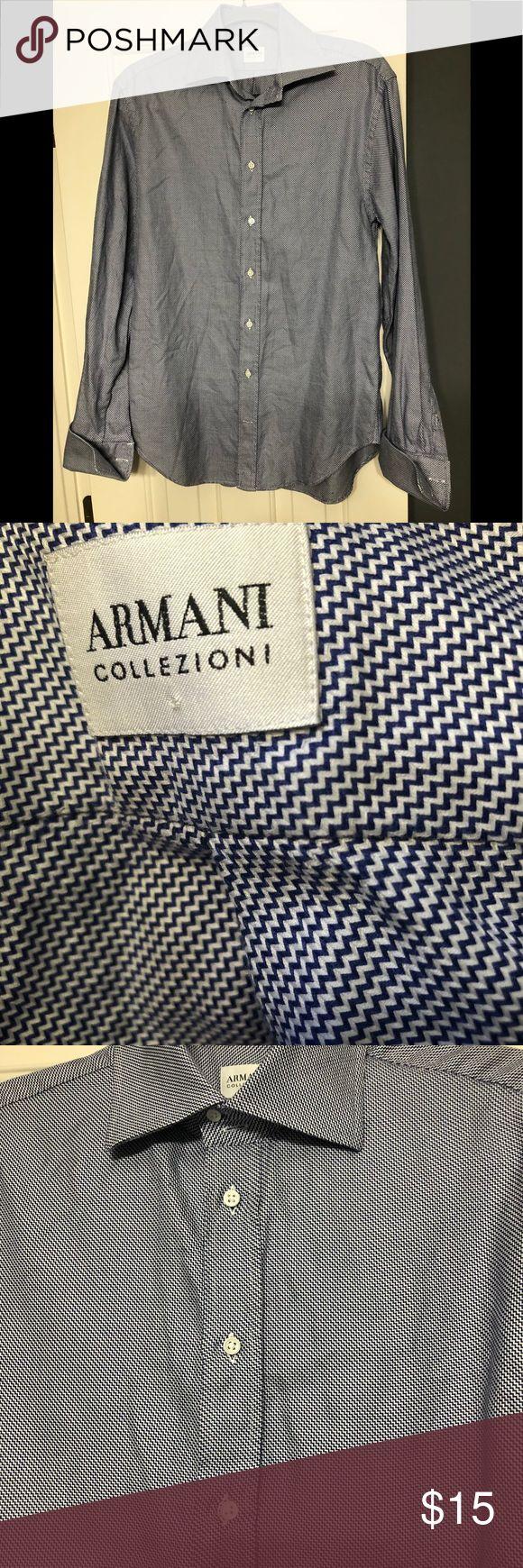 Armani designer blue M 40 shirt Nice Armani designer button down shirt in 40 Medium. French cuffs Armani Collezioni Shirts Dress Shirts
