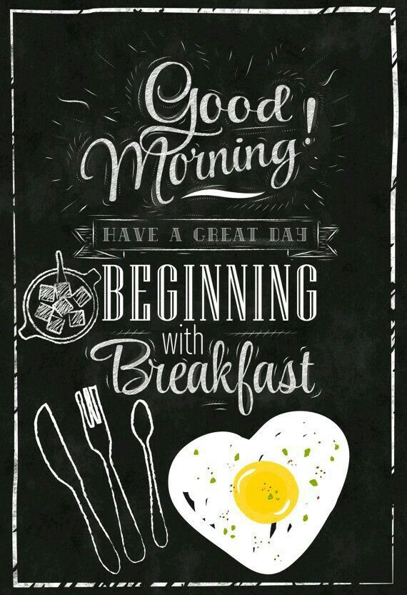 """Chalkboard """"Good Morning,"""" with Breakfast and Eggs"""