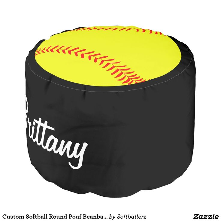 Custom Softball Round Pouf Beanbag Chair! Add your own player name or team name to customize it! Would look great in the game room, bedroom or clubhouse / locker room! #softball
