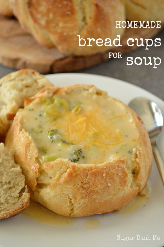 This easy recipe lets you scale down the bread bowl into Bread Cups for Soup. They are simple and ready to fill in just about an hour.