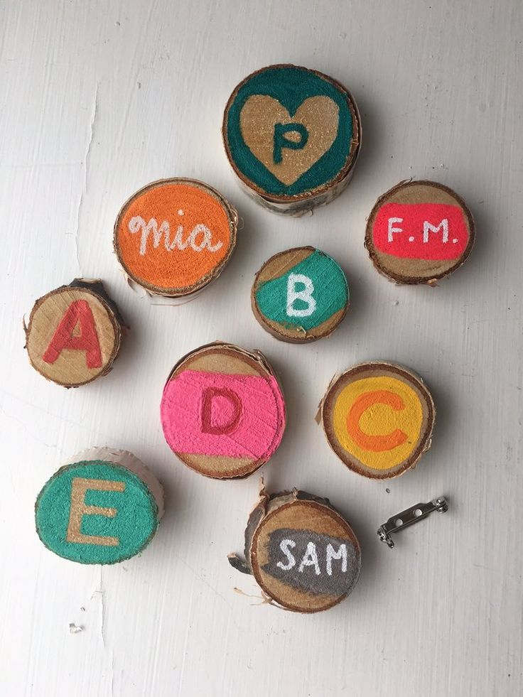 Colorful kid-made placecard pins