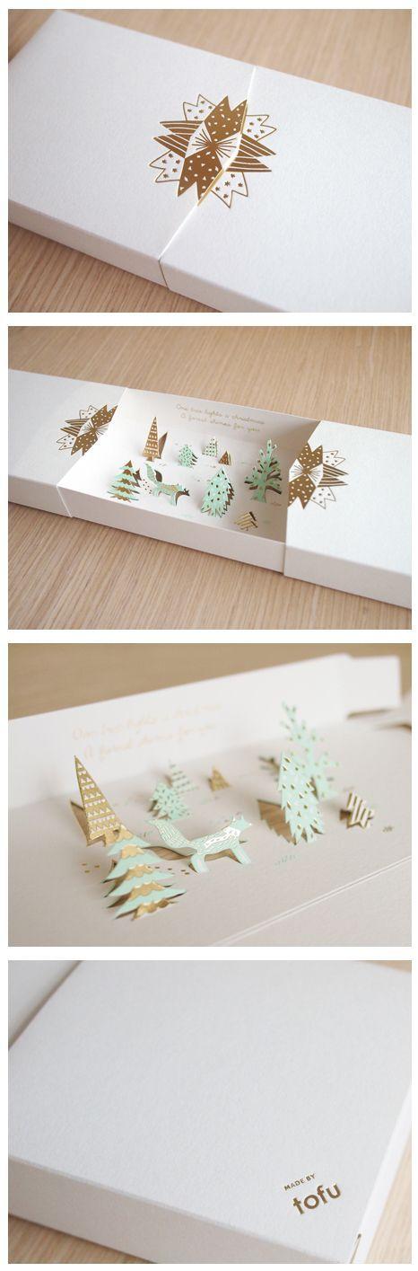 Coup de coeur pour cette invitation de noel. Packaging et boîte pour une invitation surprise à un cocktail de Noël chic!: