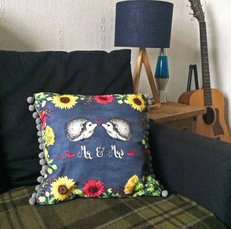 Mr and Mrs Wedding Cushion Cover, hedgehog gift for newlyweds, unique animal lover present for couple, flower print canvas wool throw pillow by BitterLimeDesigns on Etsy