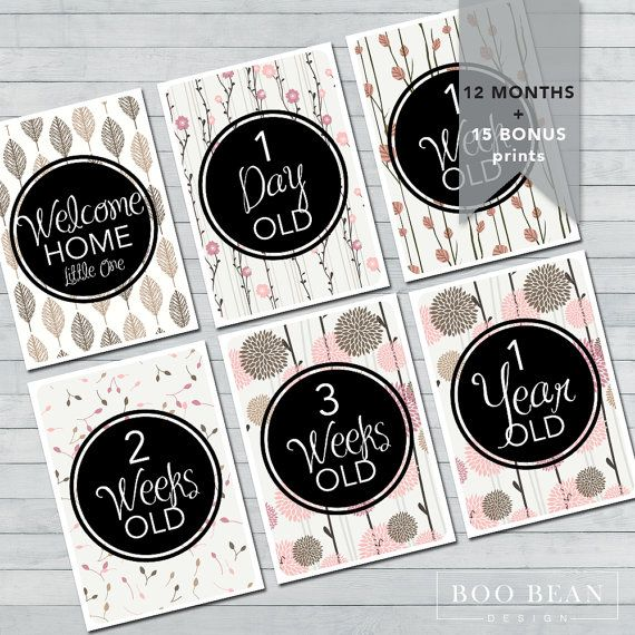 Nature Baby Milestone Card Instant Download by BooBeanDesign