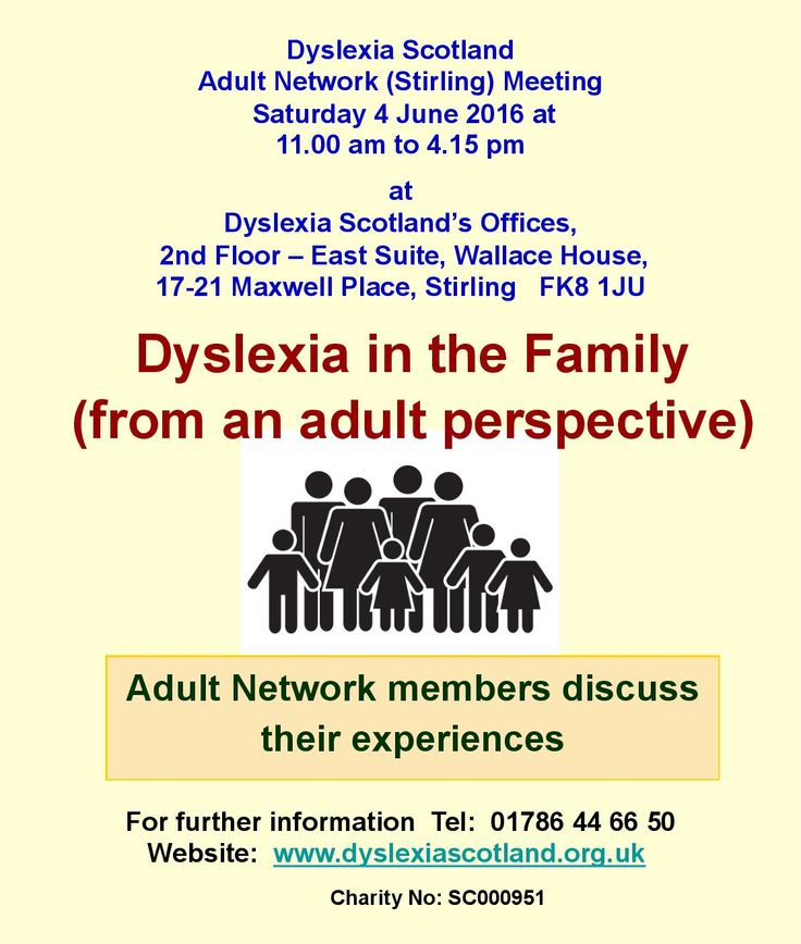 Dyslexia Scotland Adult Network (Stirling) - next meeting Sat 4 June (11am  to