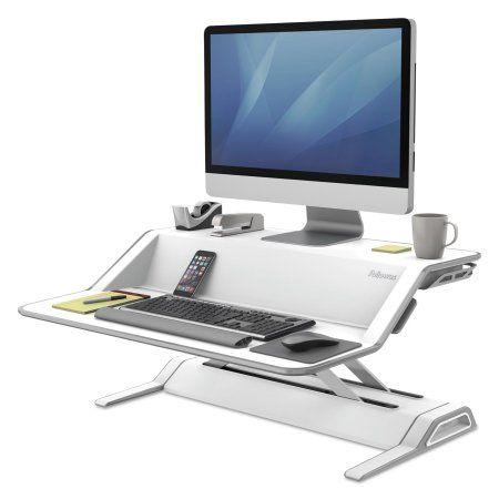 Fellowes Lotus Sit Stand Workstation, 32 3/4 x 24 1/4 x 5 1/2 to 22 1/2, White