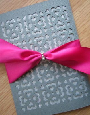 Silver Wedding Invitation with Pink Bow