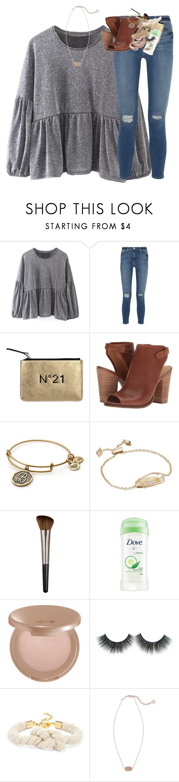 """""""working on an anne frank report!!"""" by classynsouthern ❤ liked on Polyvore featuring Frame, N°21, Lucky Brand, Alex and Ani, Kendra Scott, Urban Decay, Dove, tarte and BaubleBar"""