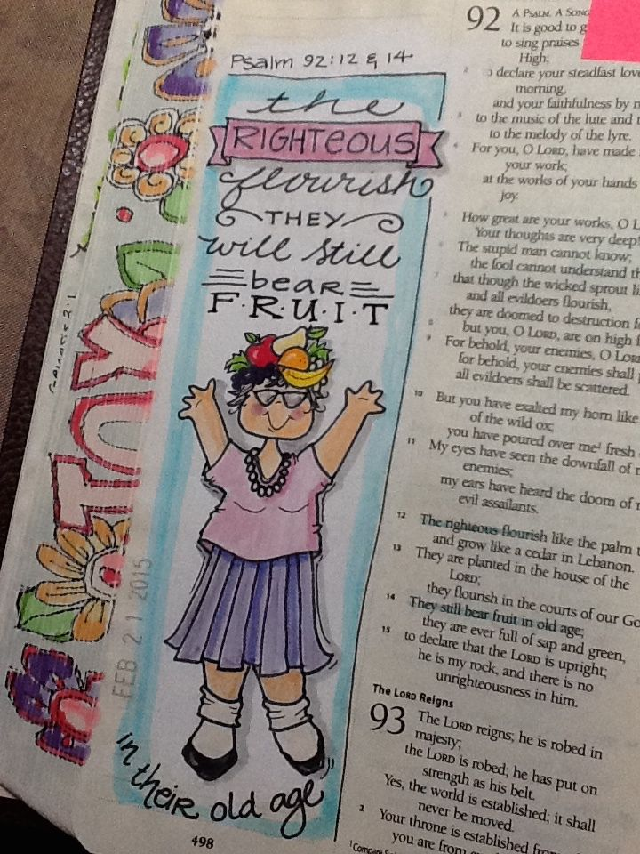 Ps 92:12 and 14 - Bearing fruit in your old age - Bible Journaling by Nola