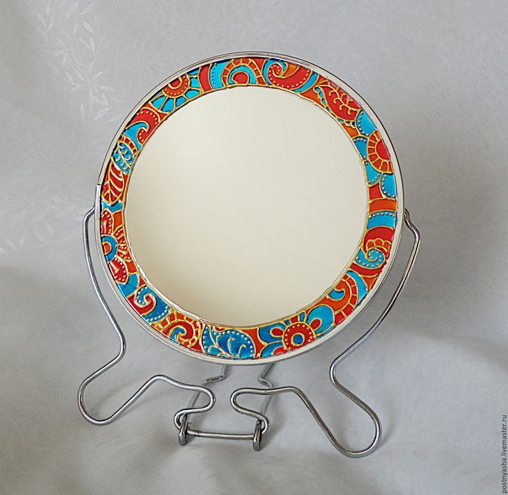 """Купить Зеркало """"Солнечное настроение"""" - комбинированный, оранжевый, оранжевый цвет, золотой, зеркало, настольное зеркало"""