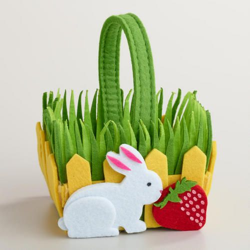 One of my favorite discoveries at WorldMarket.com: Small Felt Rabbit Picket Fence Container